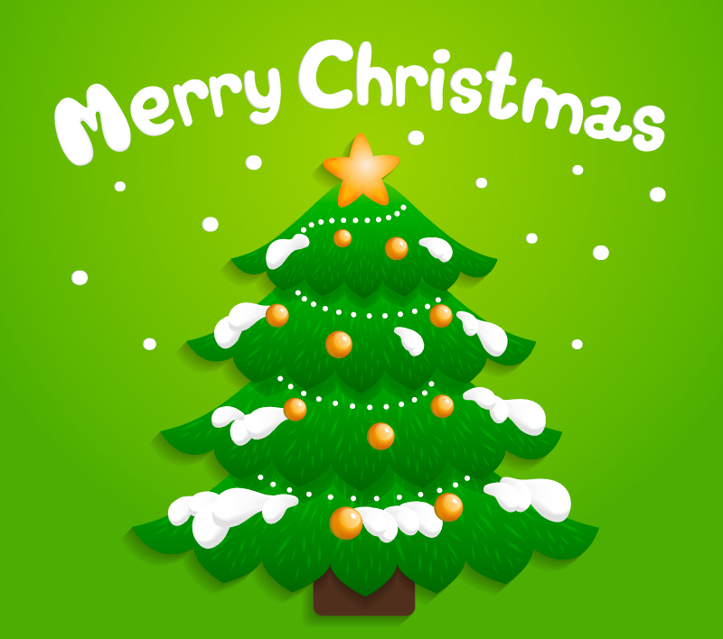 Cartoon snow Christmas tree vector material