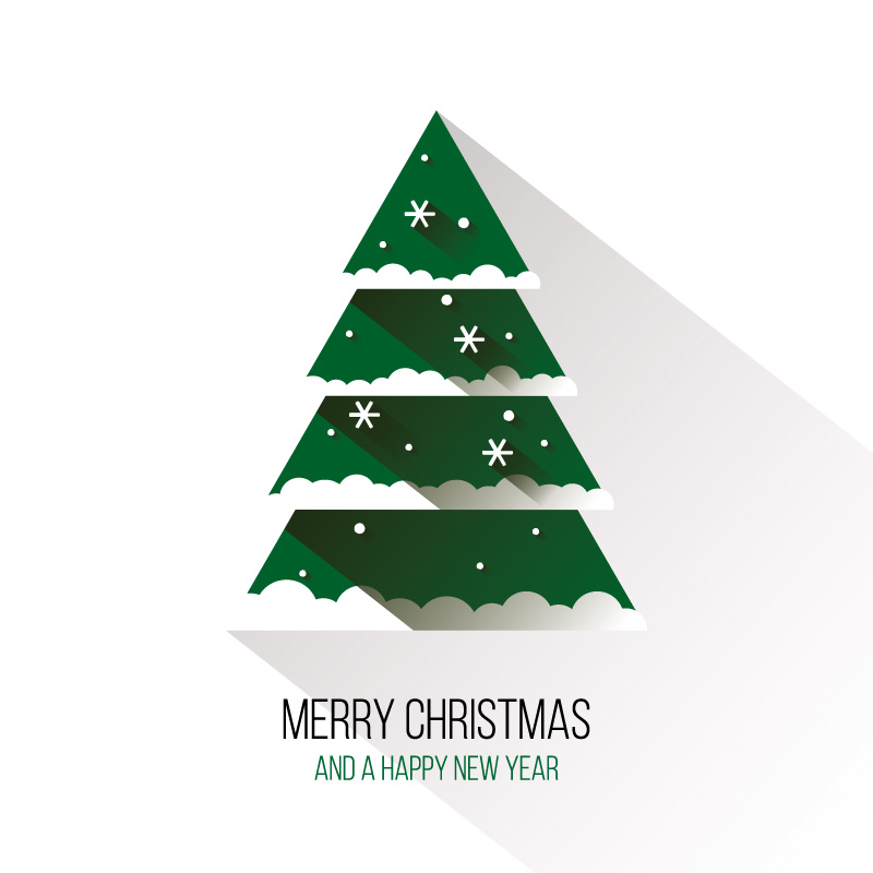 Flat green Christmas tree vector material