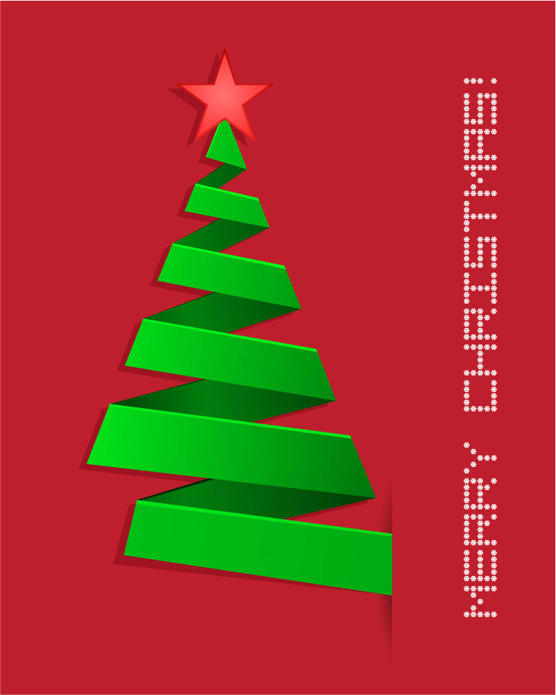 Green Ribbon Christmas tree vector material