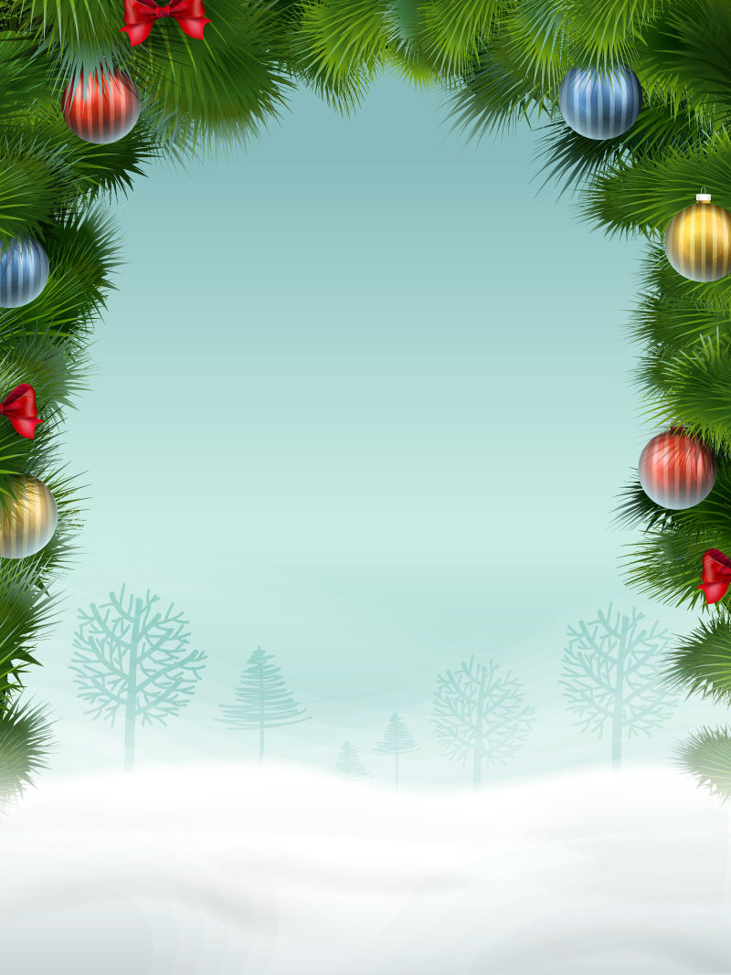 christmas pine frame snow background vector material download free