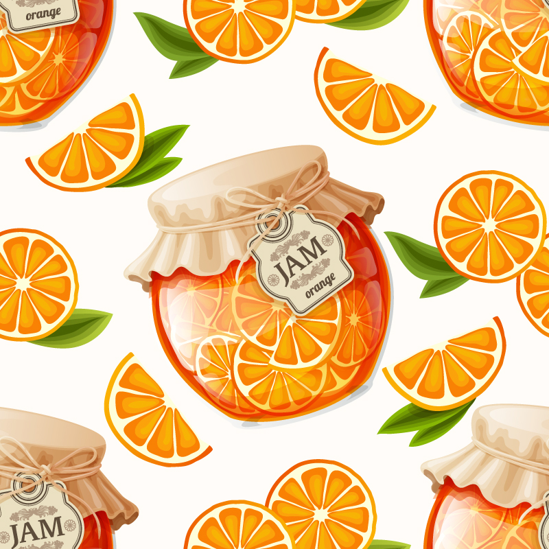 Delicious orange marmalade vector material