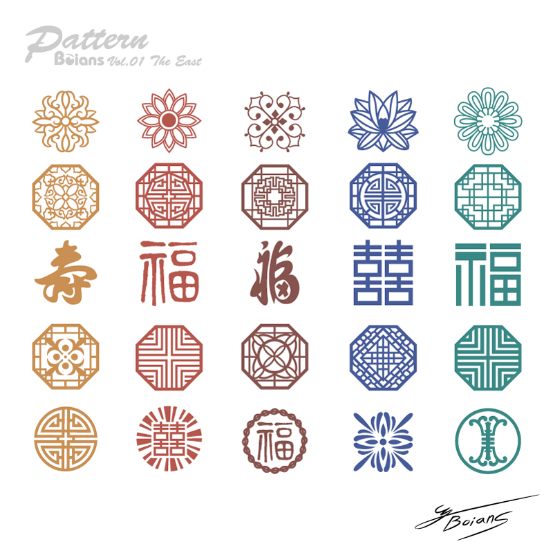 Traditional Chinese style retro pattern vector material ...