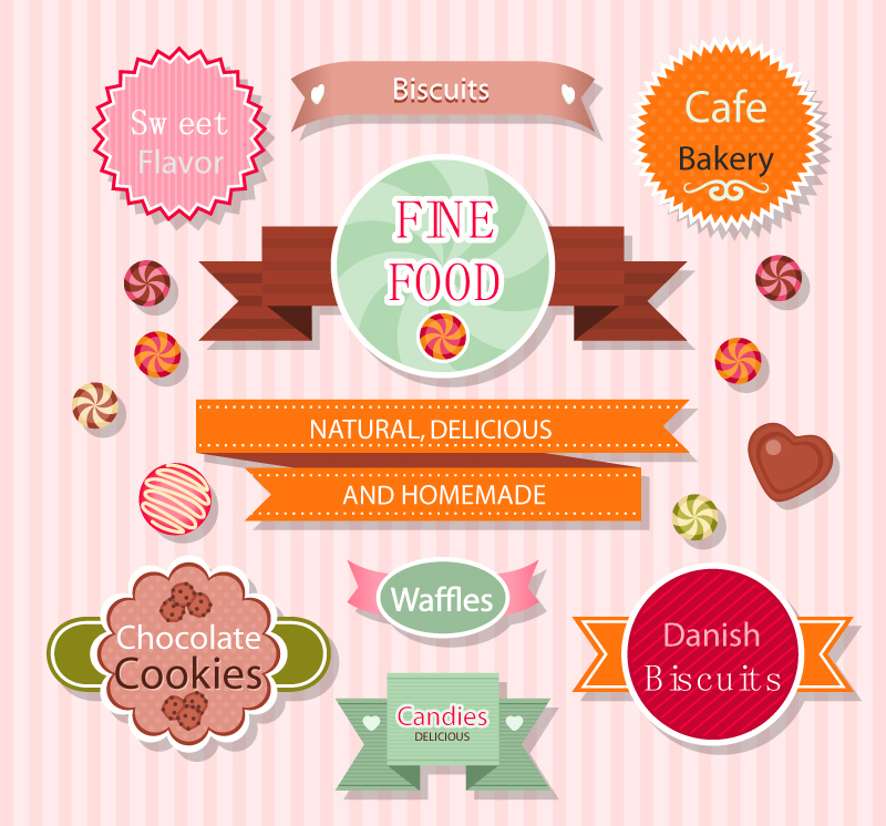 Free download Free download 9 baking food label vector material