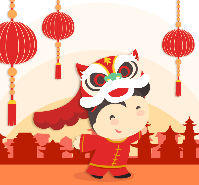 Chinese Lion Dance Vector Chinese New Year Lion Dance