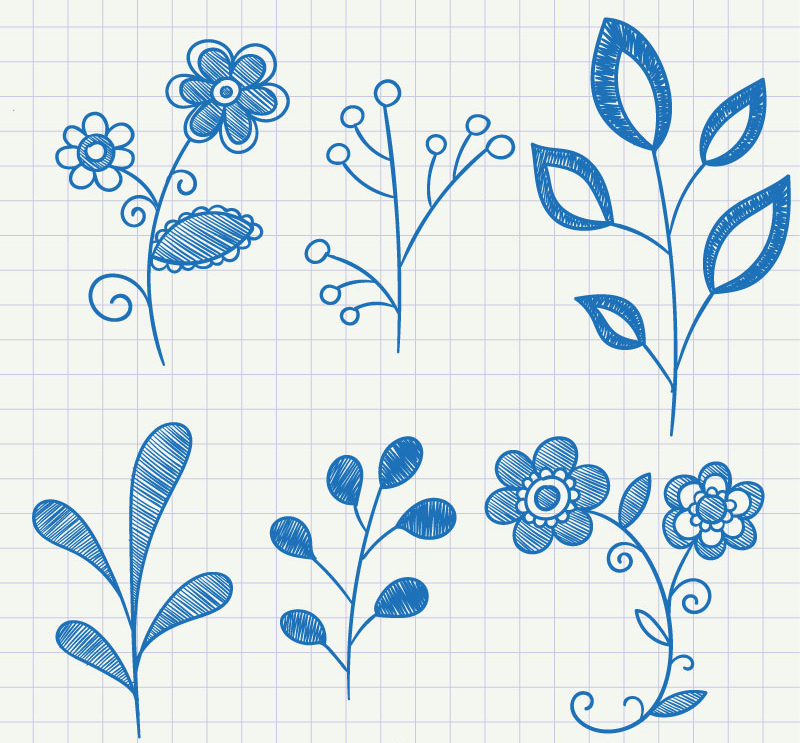 6 blue painted plant vector material