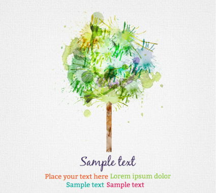 Watercolor trees design vector material