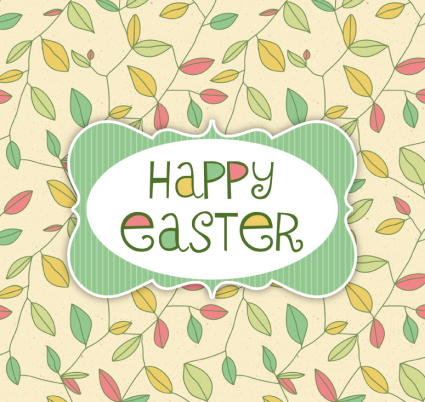 Easter greeting card color leaves Vector