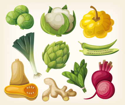 10 design models cartoon vegetables Vectors