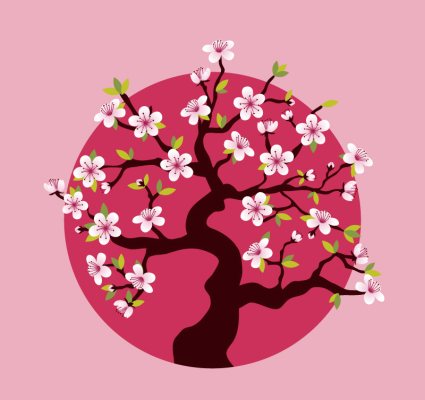 Blooming pink cherry tree vector material