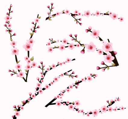 5 pink cherry branch vector material