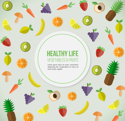 Healthy living food background vector material