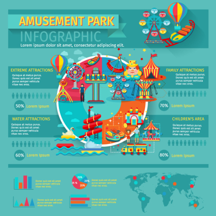 Cartoon amusement park information map vector material – Over