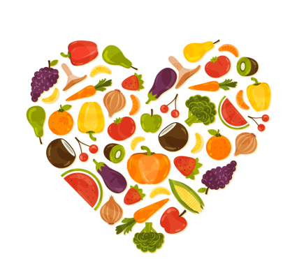 Love the combination of vegetables and fruits vector material