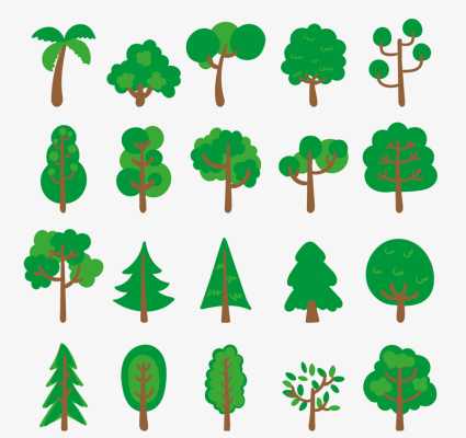20 models of green trees design vector material