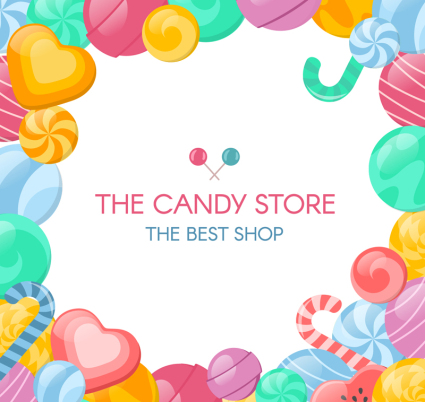 Creative Candy Store Posters Vector Material
