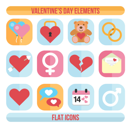 12 square Valentine's Day element vector material