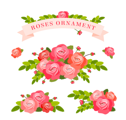 3 beautiful bouquet of roses and ribbon vector material