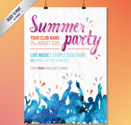 Watercolor Summer Party Poster Vector material