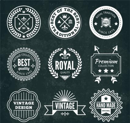 9 retro label design vector material Download Free Vector ...