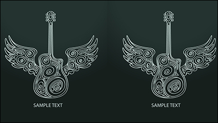 Link toCreative guitar with wings vector material