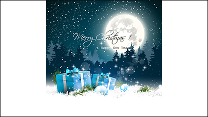 Link toBeautiful snowy christmas gift vector material