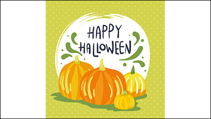 Painted Halloween pumpkin vector material