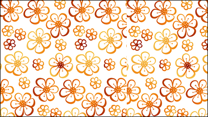 Six orange flower seamless background vector material