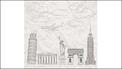 Link to5 famous buildings painted vector material