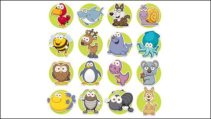 Link toRound of 16 cartoon animal icon vector material
