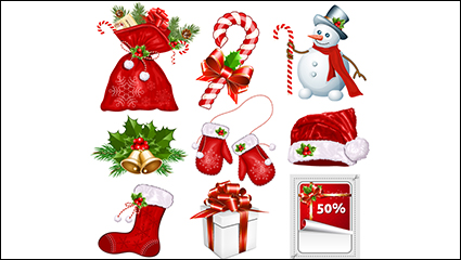 Link to9 red christmas icon vector material