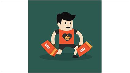 Link toHandheld shopping bag man vector material