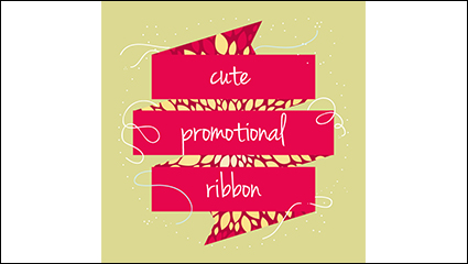 Promotional cute ribbon background vector material