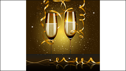 Link toChampagne and golden ribbon vector material