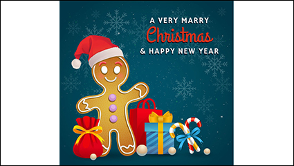 Cartoon gingerbread man and gift vector material