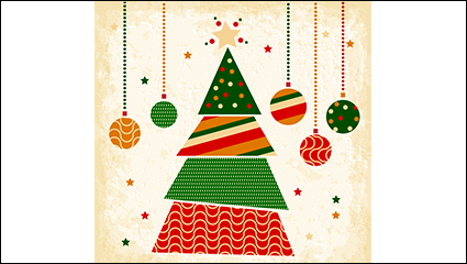 Creative Christmas tree triangle vector material