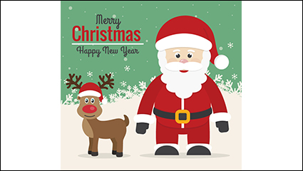 Santa Claus with reindeer Rudolph vector material