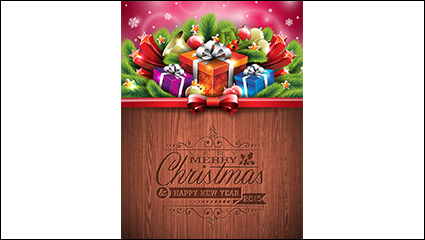 Link toChristmas gift boxes with pine poster vector material