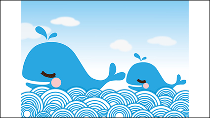 Link toTwo blue cartoon whale vector material