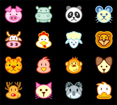 ai format, keyword: vector cartoon animals pig hippopotamus Panda rats