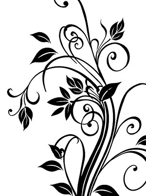 black and white vector flowers