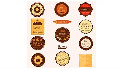 Link to11 models baked goods label design vector material