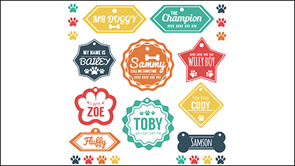 Link to10 models of color dog tag vector material