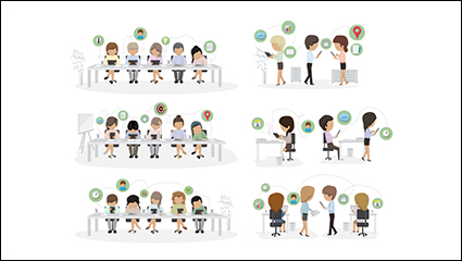 Office staff design vector material