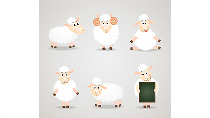 6 white cartoon sheep vector material