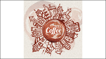 Coffee stains painted urban background vector material