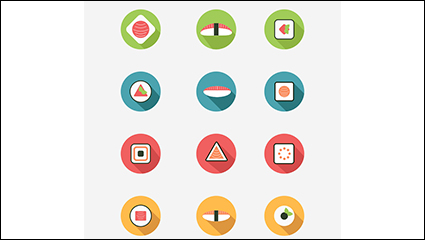 Link to12 round sushi icon vector material