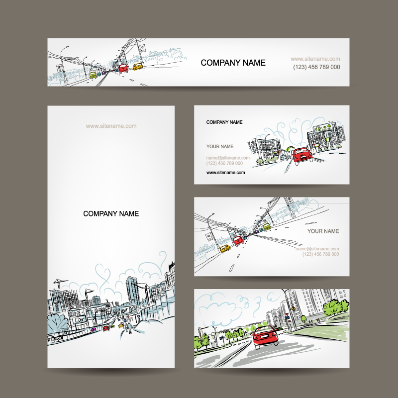 Hand-painted city business card design vector material