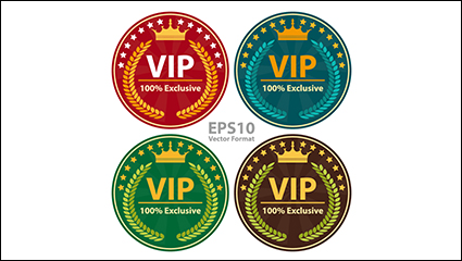 Link to4 color circular vip tag vector material