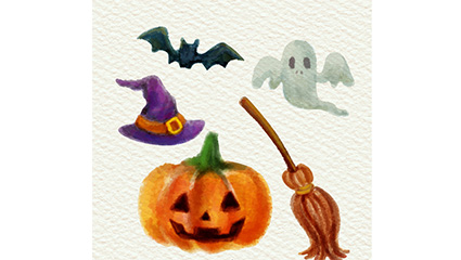 5 Halloween element vector watercolor