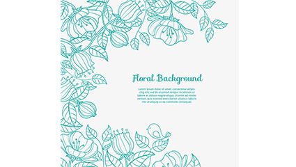 Green painted floral background vector